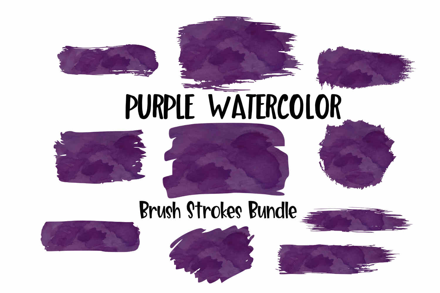 Purple Watercolor Brush Strokes Background Bundle PNG example image 1