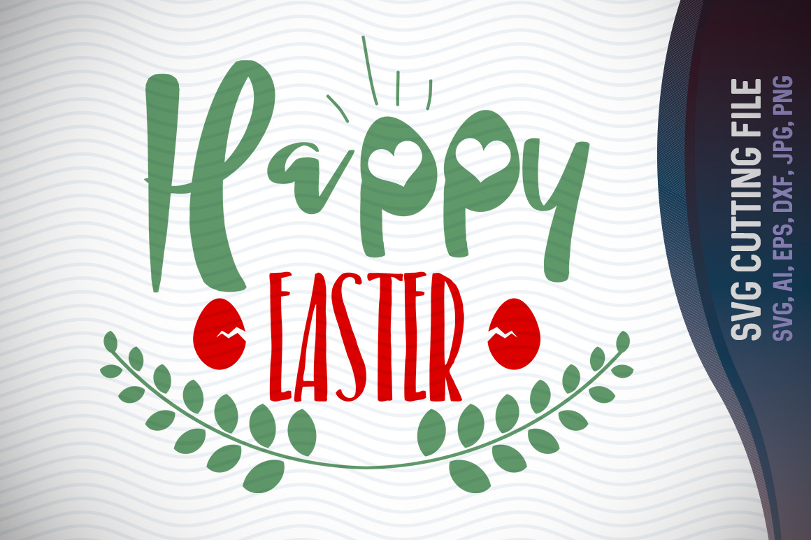 Happy Easter SVG, Easter Eggs SVG, Happy Easter, three Easter eggs, Cricut Cut Files, Svg Files example image 1