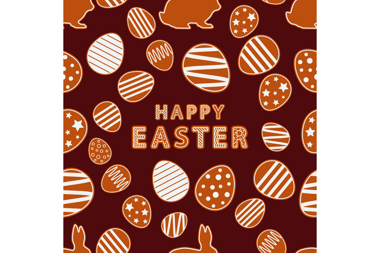 Easter gingerbread ornament. Set of 10 seamless patterns. example image 10