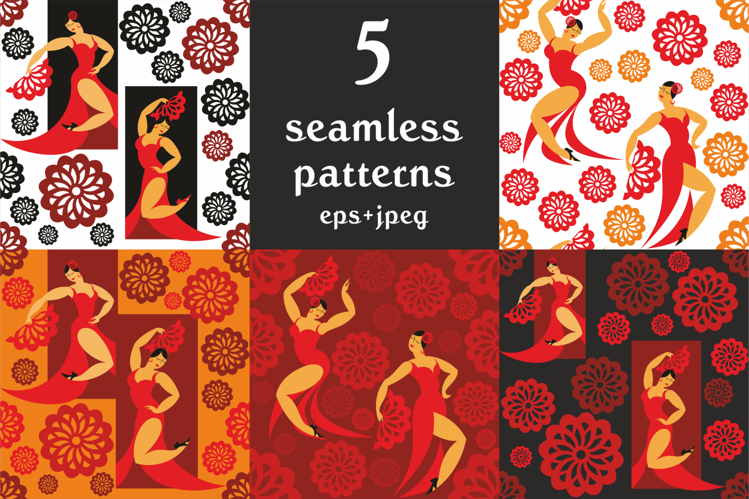 Flamenco. Vector clip arts and patterns. example image 3
