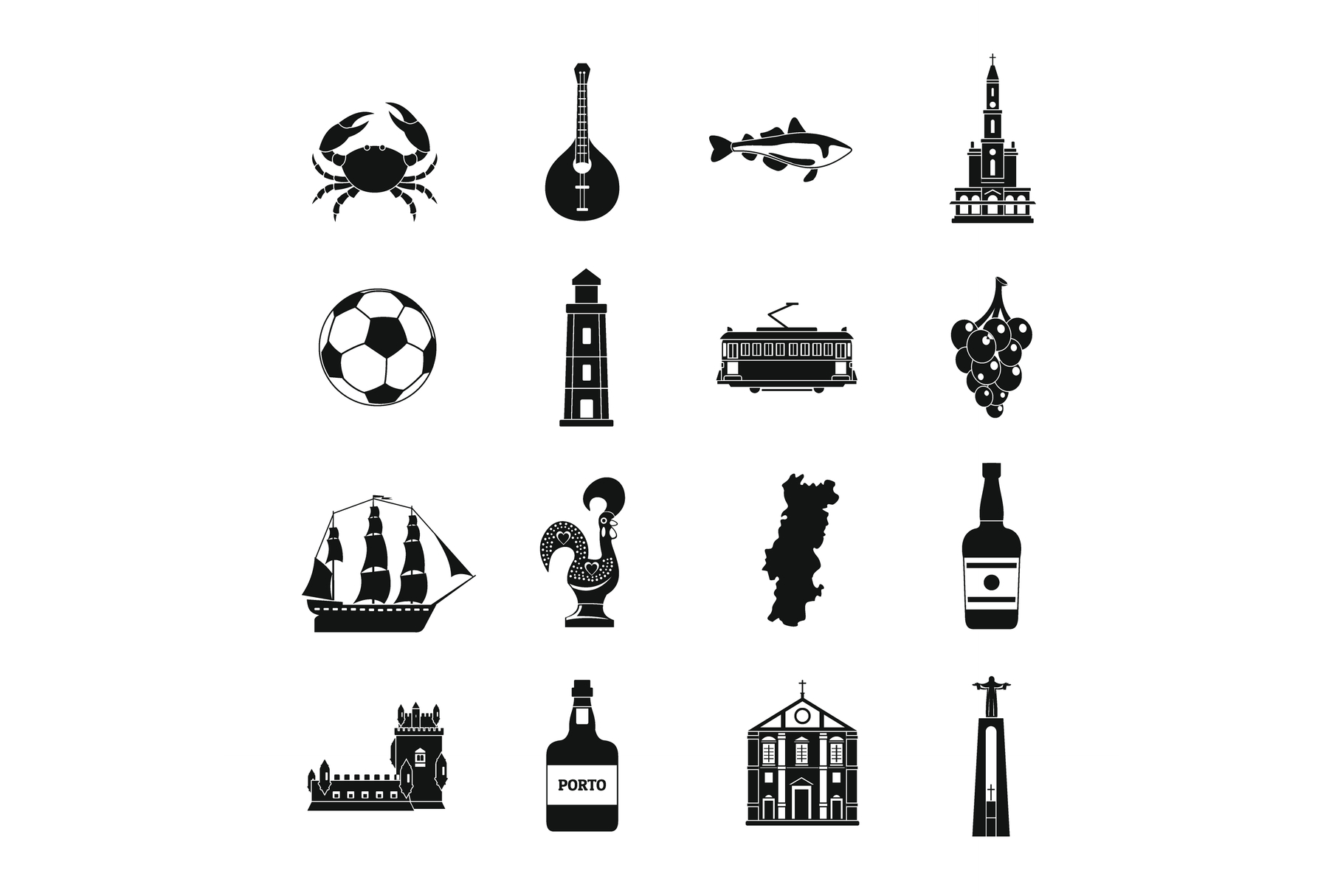 Portugal travel icons set, simple style example image 1