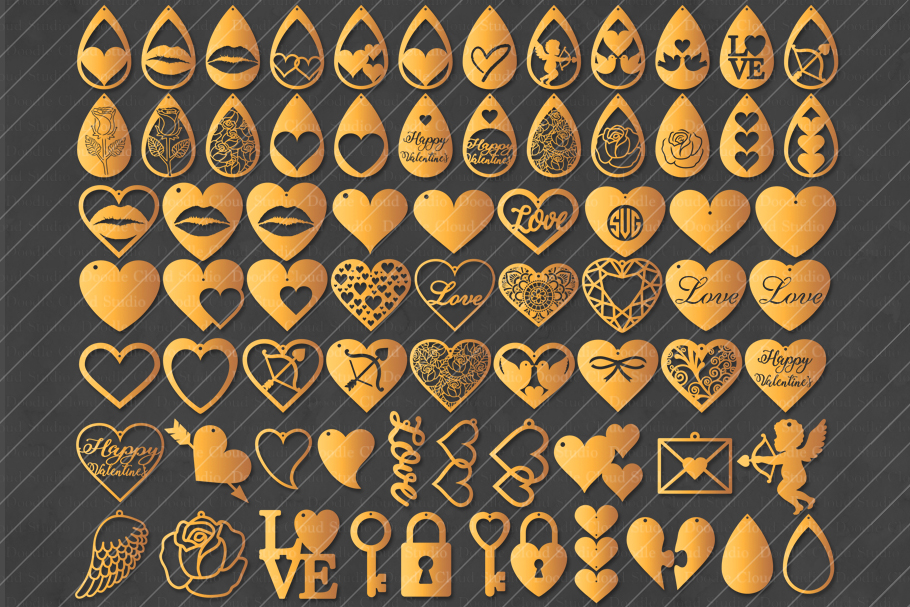 70 Earrings Valentine Love SVG, Cut Files, Heart Earring SVG example image 1