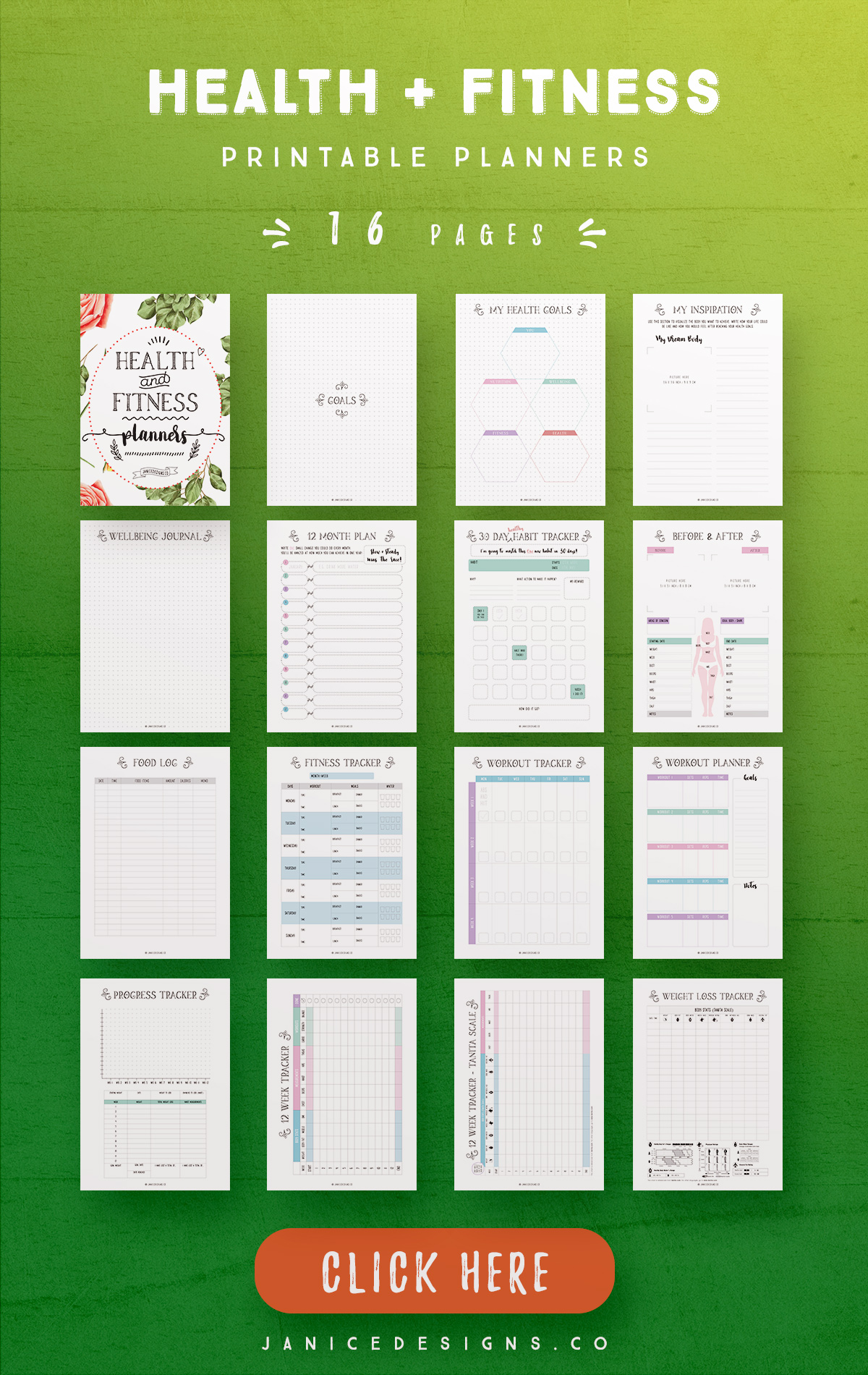 Health and Fitness Printable Planners - 16 Pages example image 3