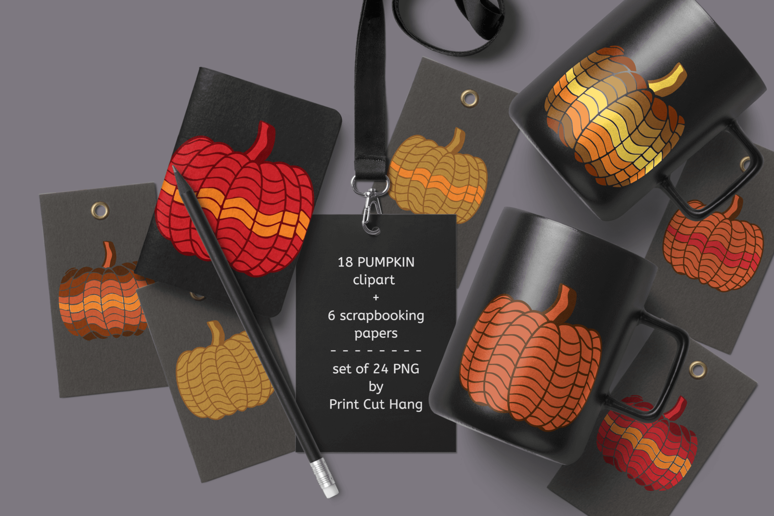 Pumpkins Clipart & Scrapbooking Papers Set of 24 PNG Files example image 3