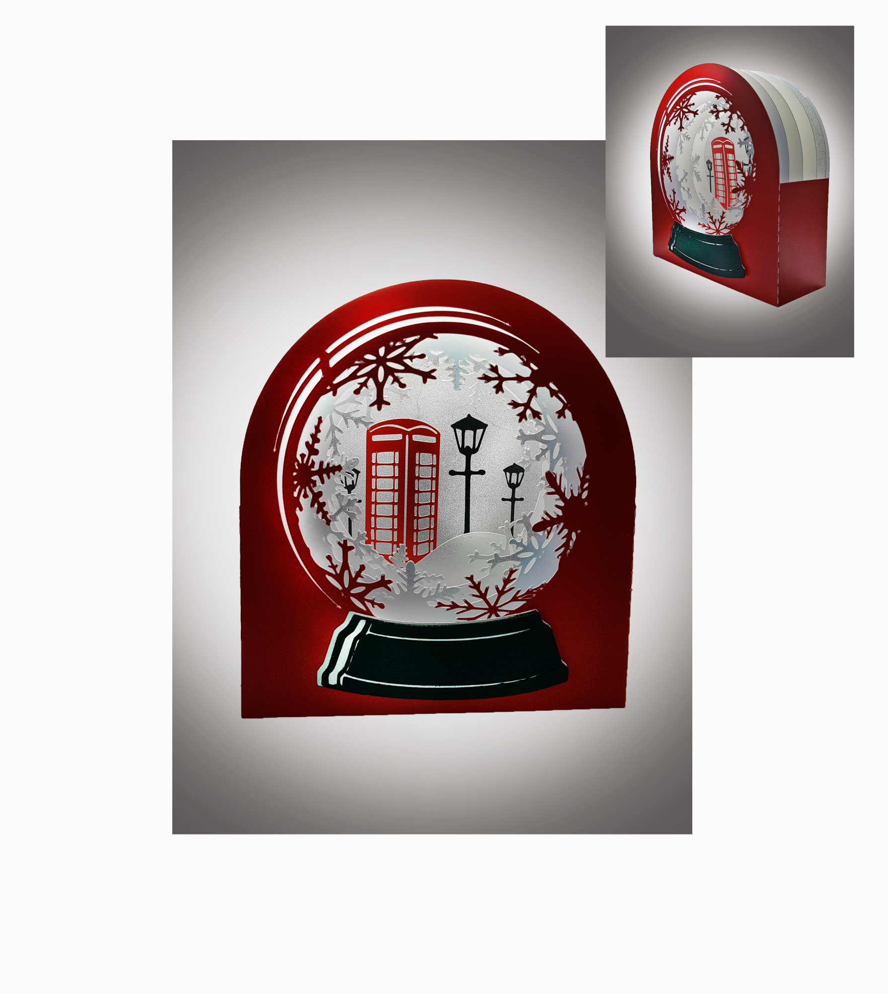 3D Snow Globe Classic Red Telephone Box greetings card example image 1