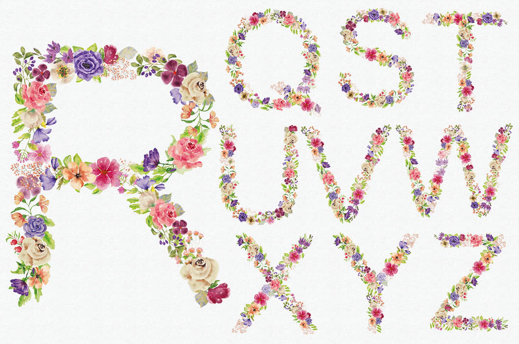 Complete alphabet in mixed watercolor flowers example image 4