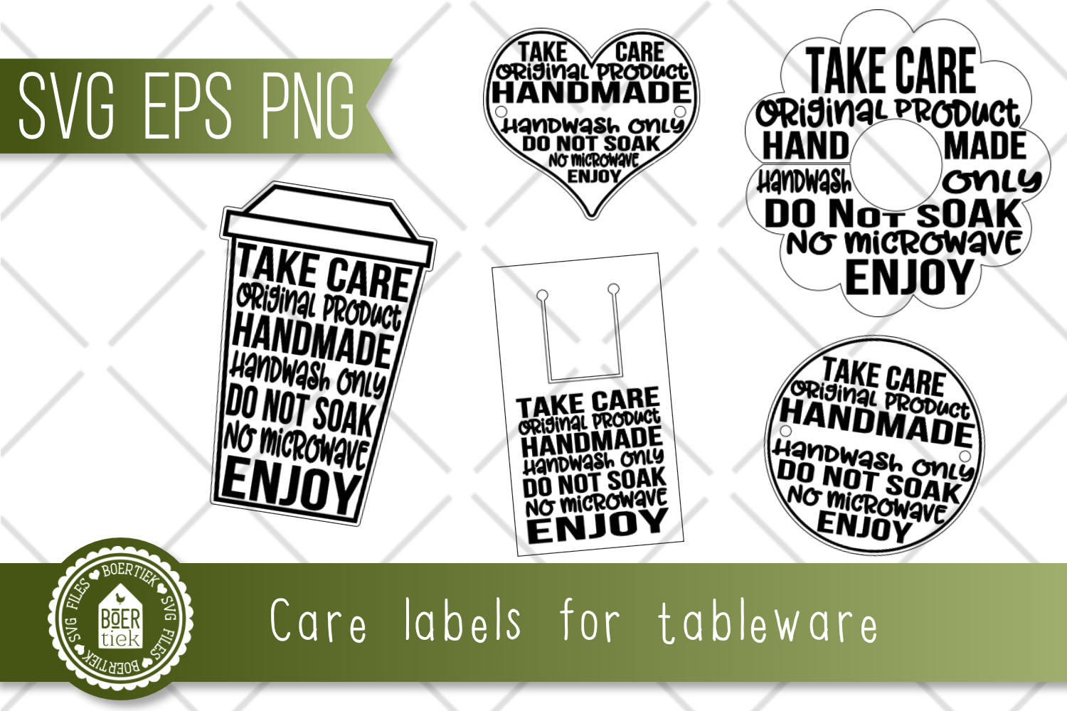 Care labels for tableware made with decal, etc. Print & Cut. example image 2