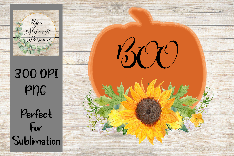 Pumpkin with Sunflower Design, Halloween Design example image 1