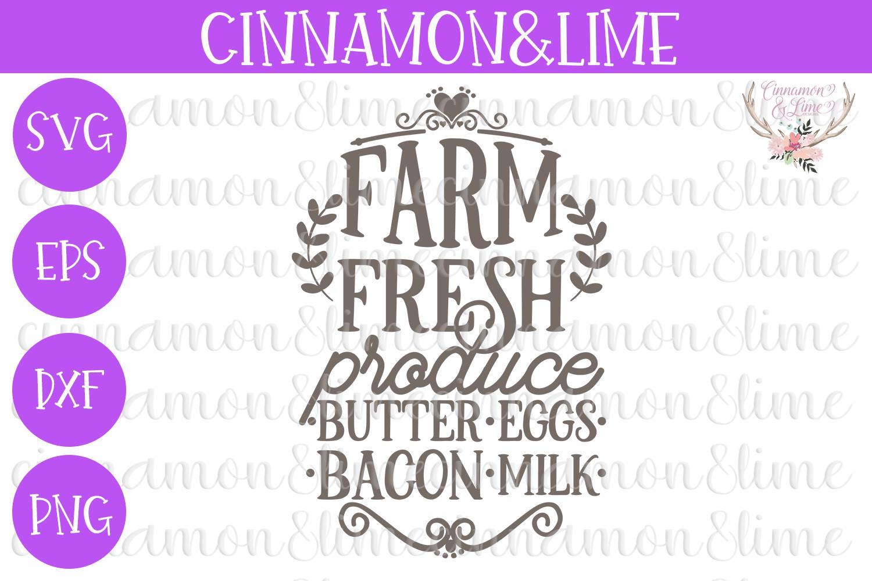 Farm Fresh Produce Wood Sign SVG example image 1