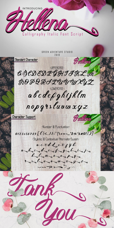 Hellena Italic-Calligraphy Italic Font Script example image 10