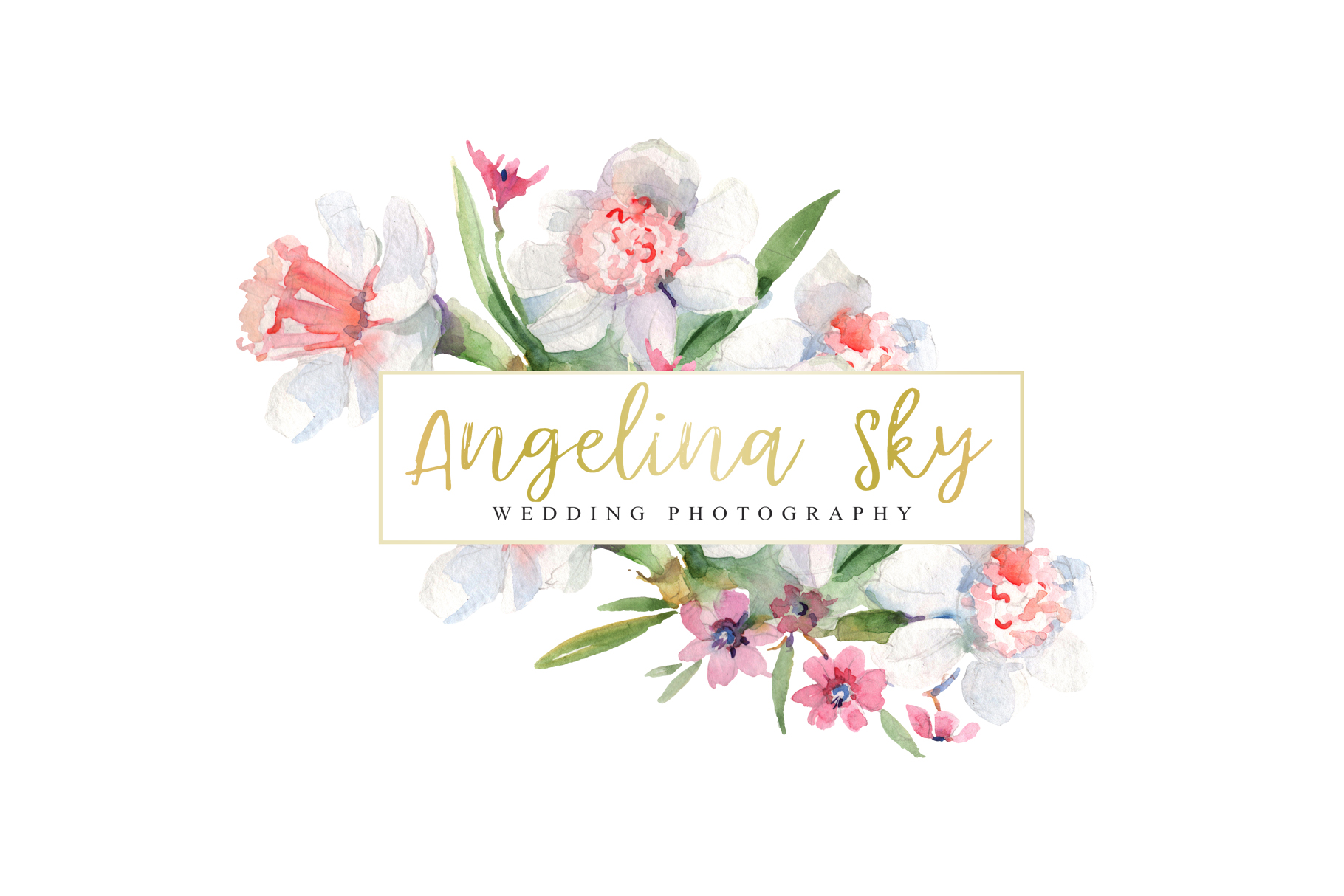LOGO with roses and narcissus Watercolor png example image 3