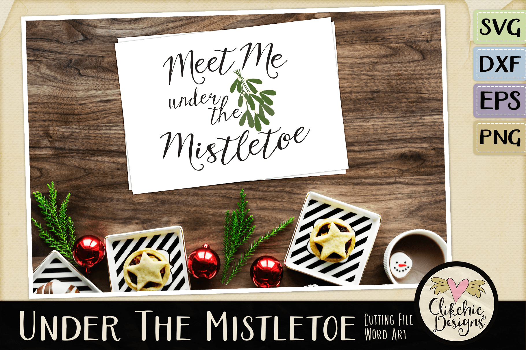 Christmas SVG - Under the Mistletoe Word Art Clipart example image 2