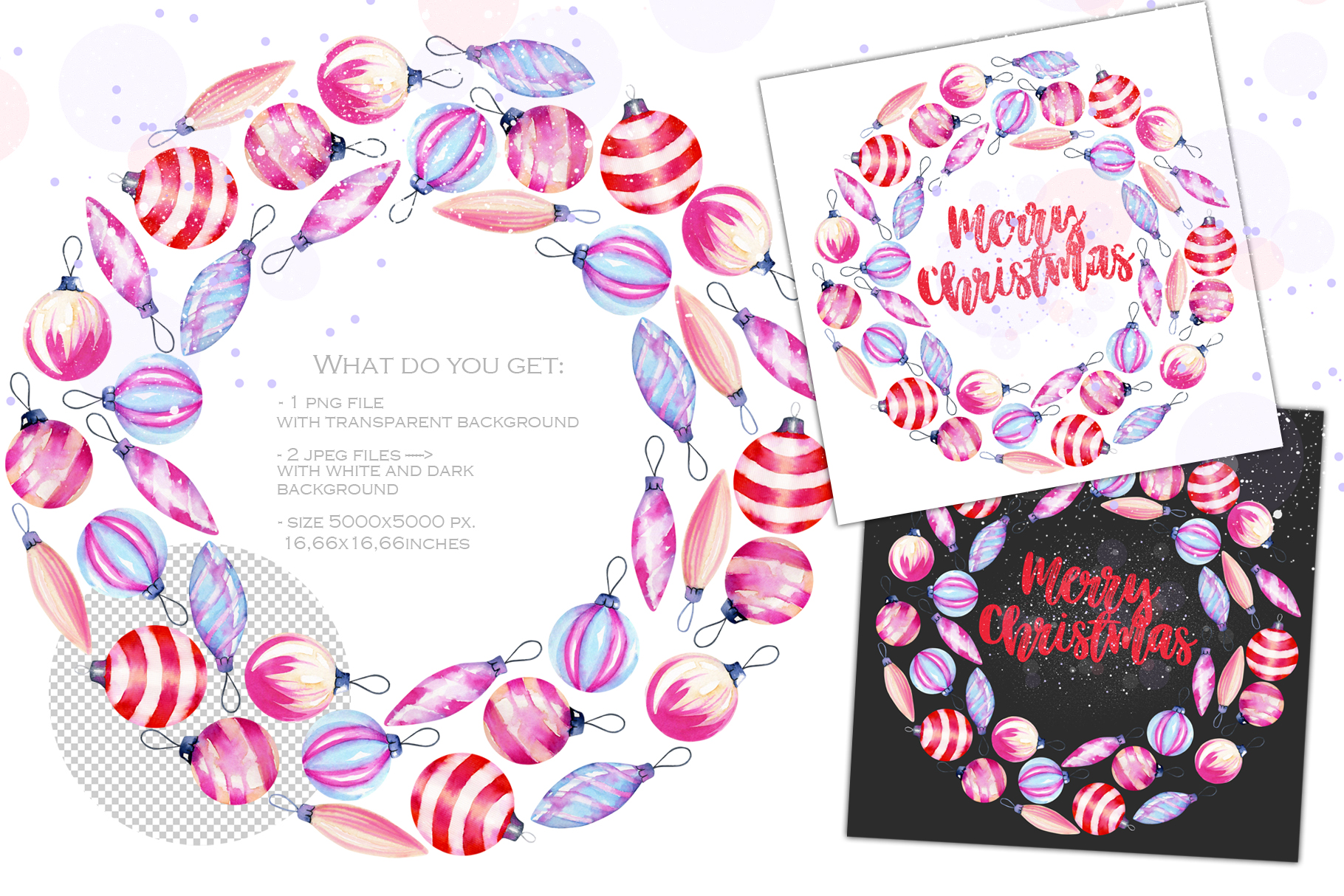 Let it snow. Watercolor Christmas clipart. example image 9
