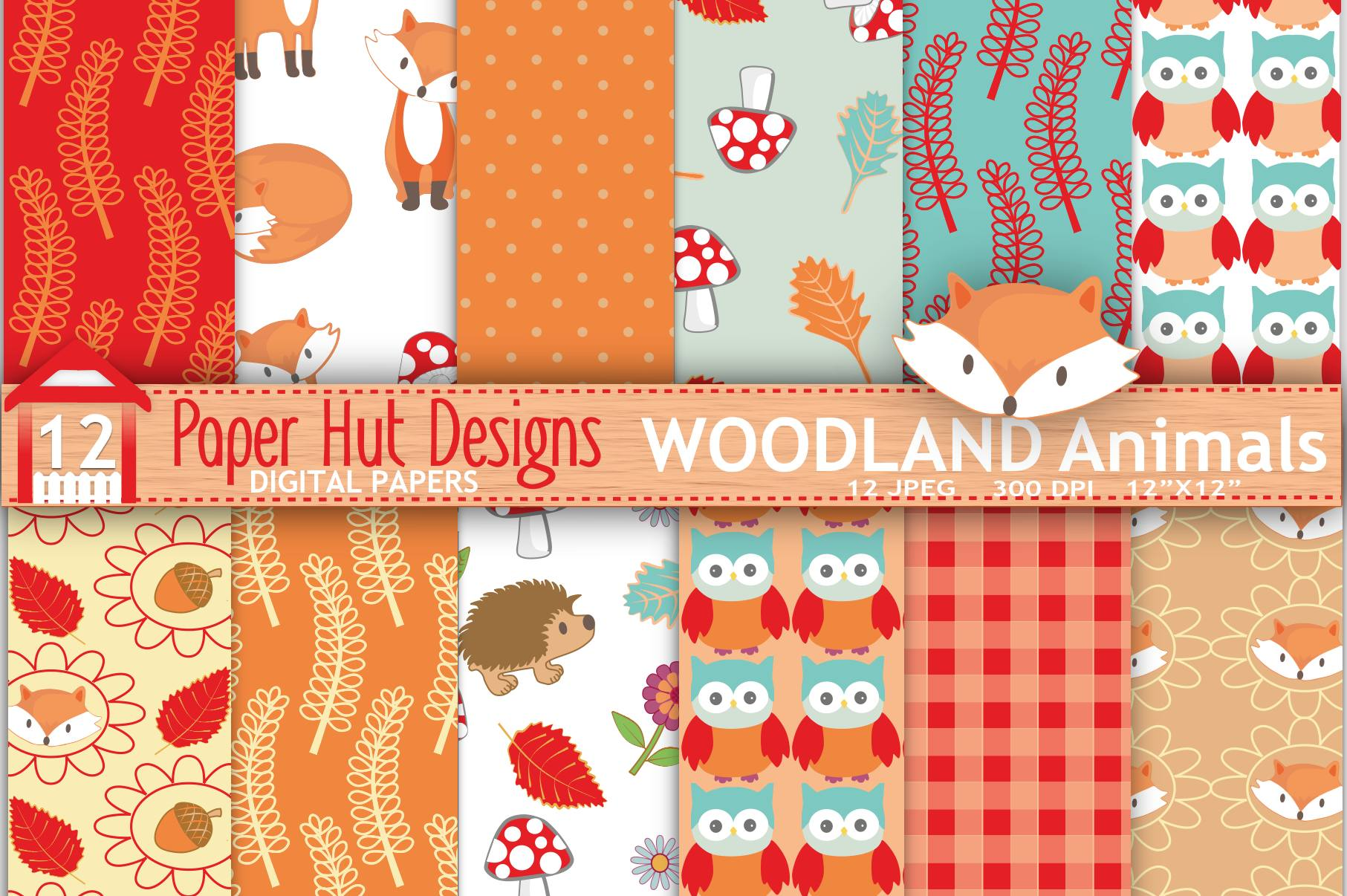 Woodland Animals Digital Papers example image 1