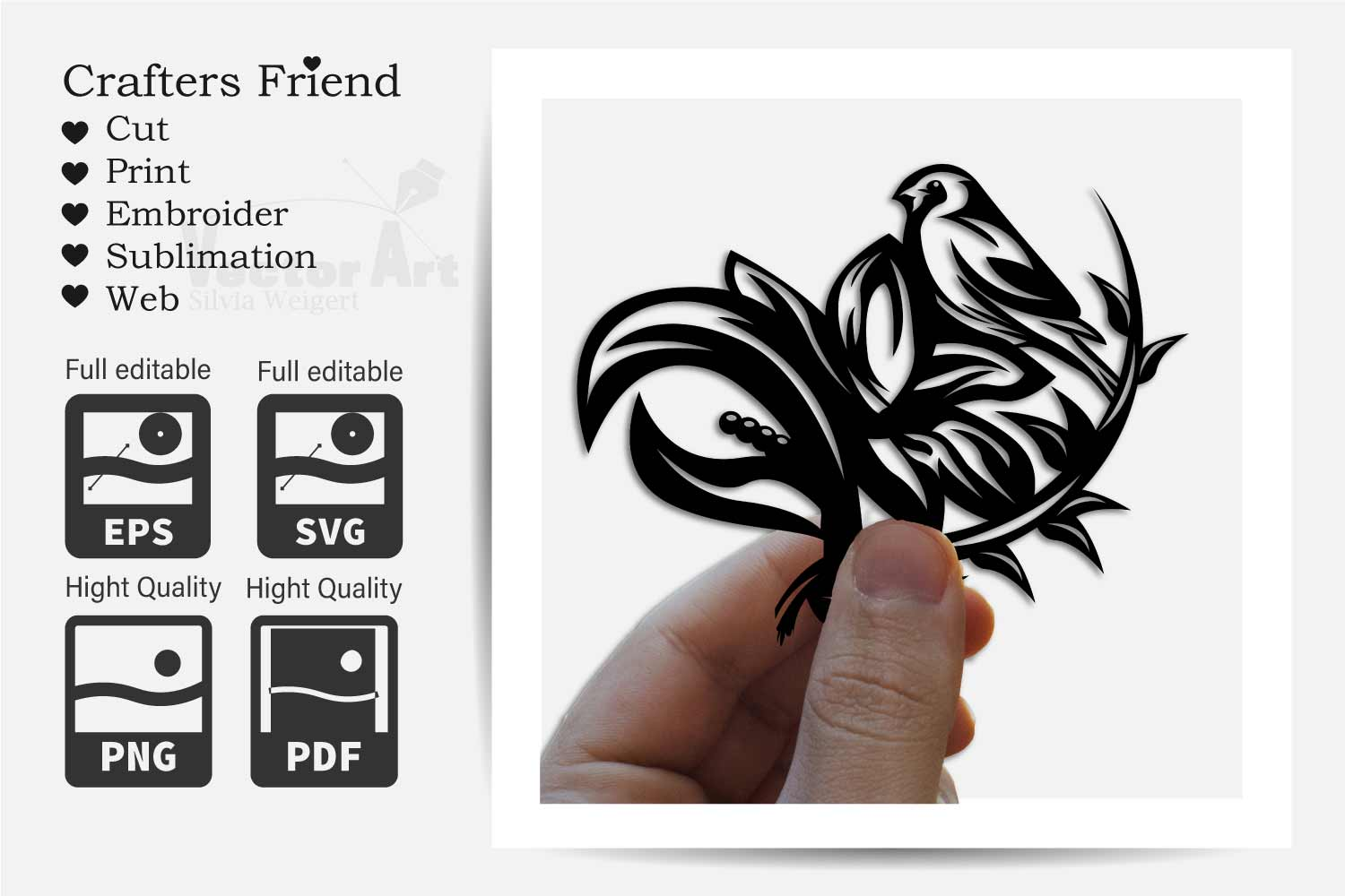 Flower with Bird - Print and Cut example image 3