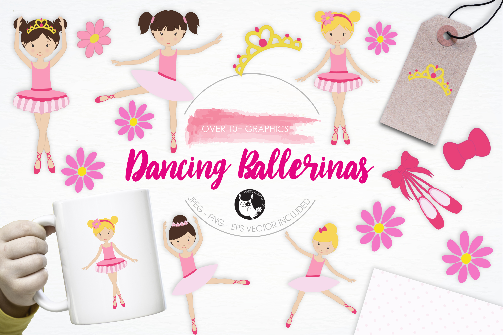 Dancing Ballerinas graphics and illustrations example image 1