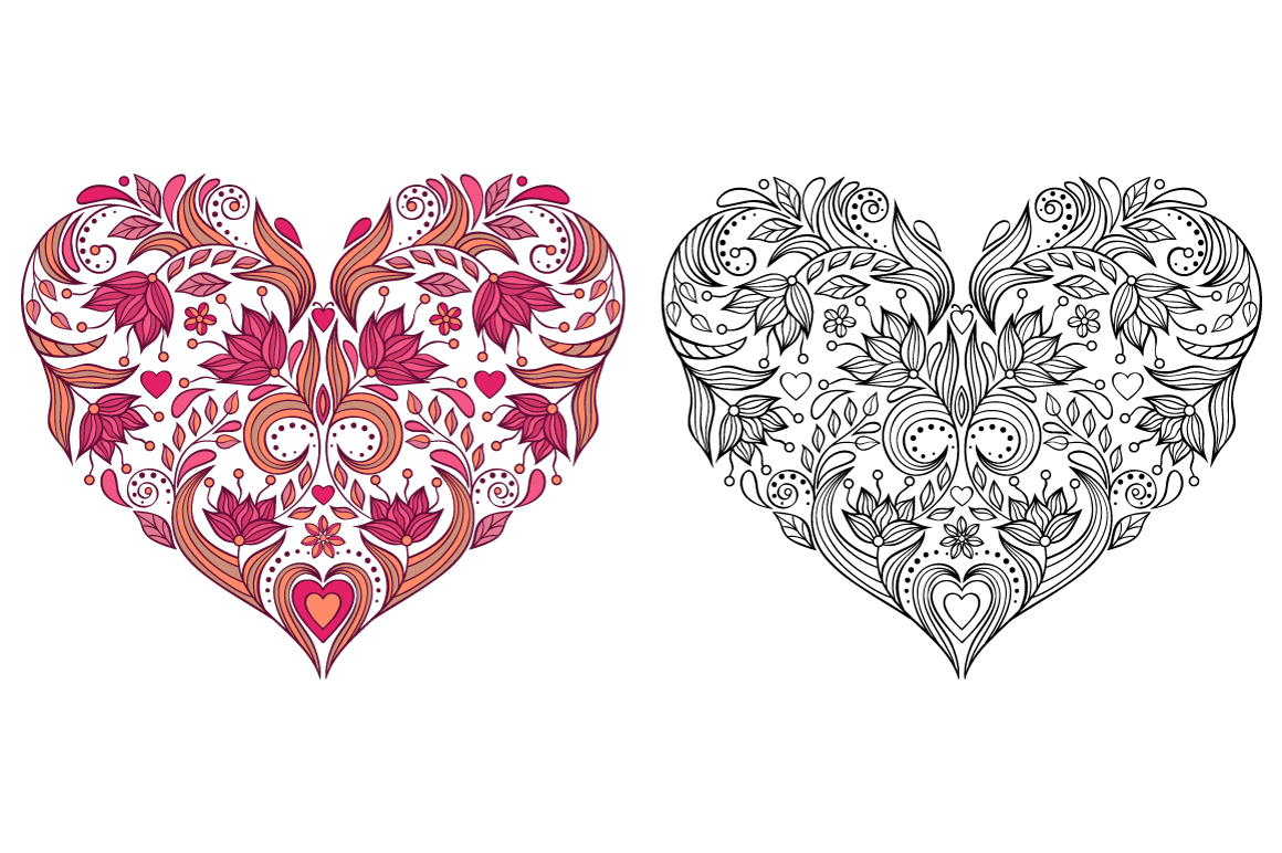 Floral Valentine's hearts example image 7