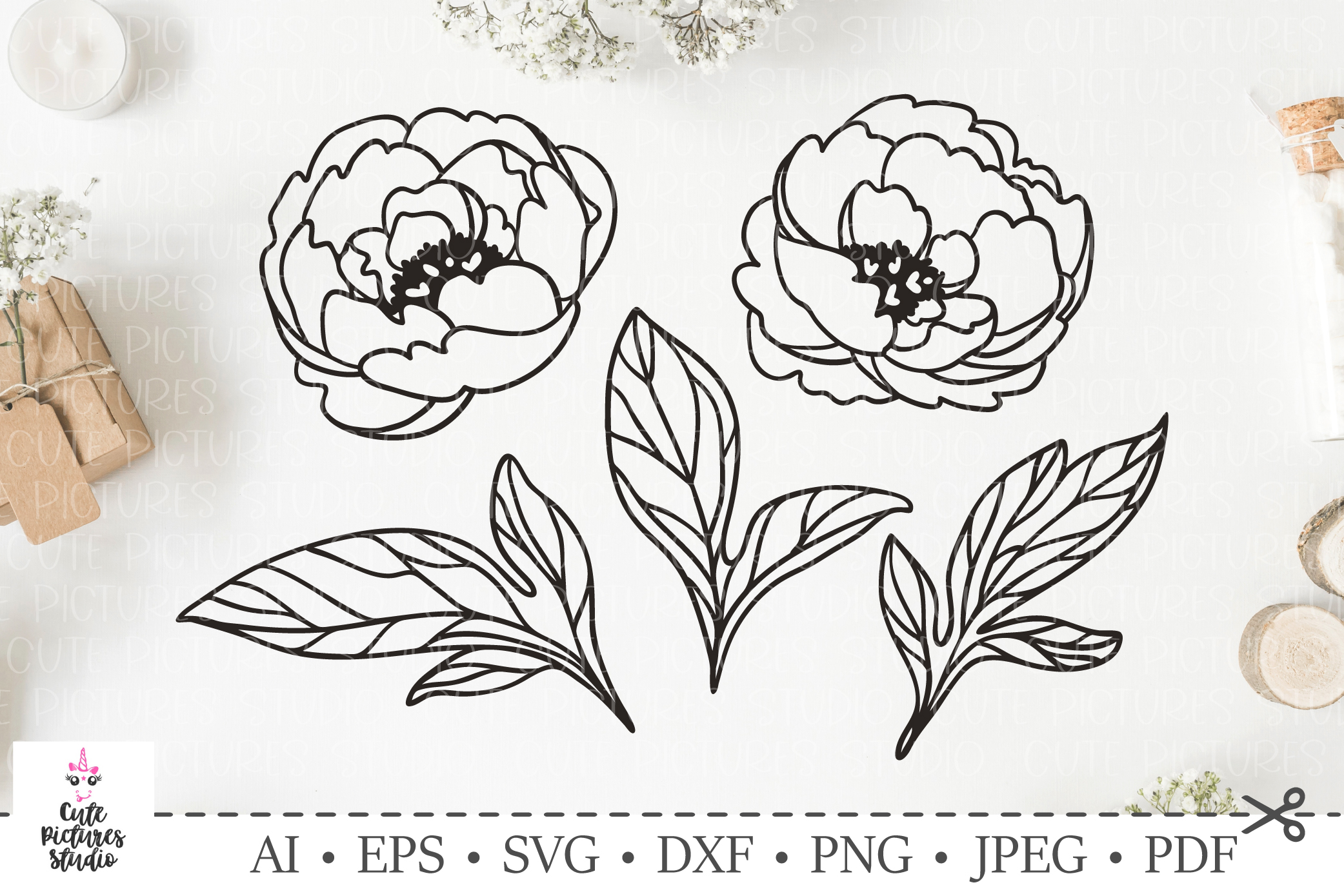 Graceful peony leavesf and flowers. SVG DXF cut file. example image 1
