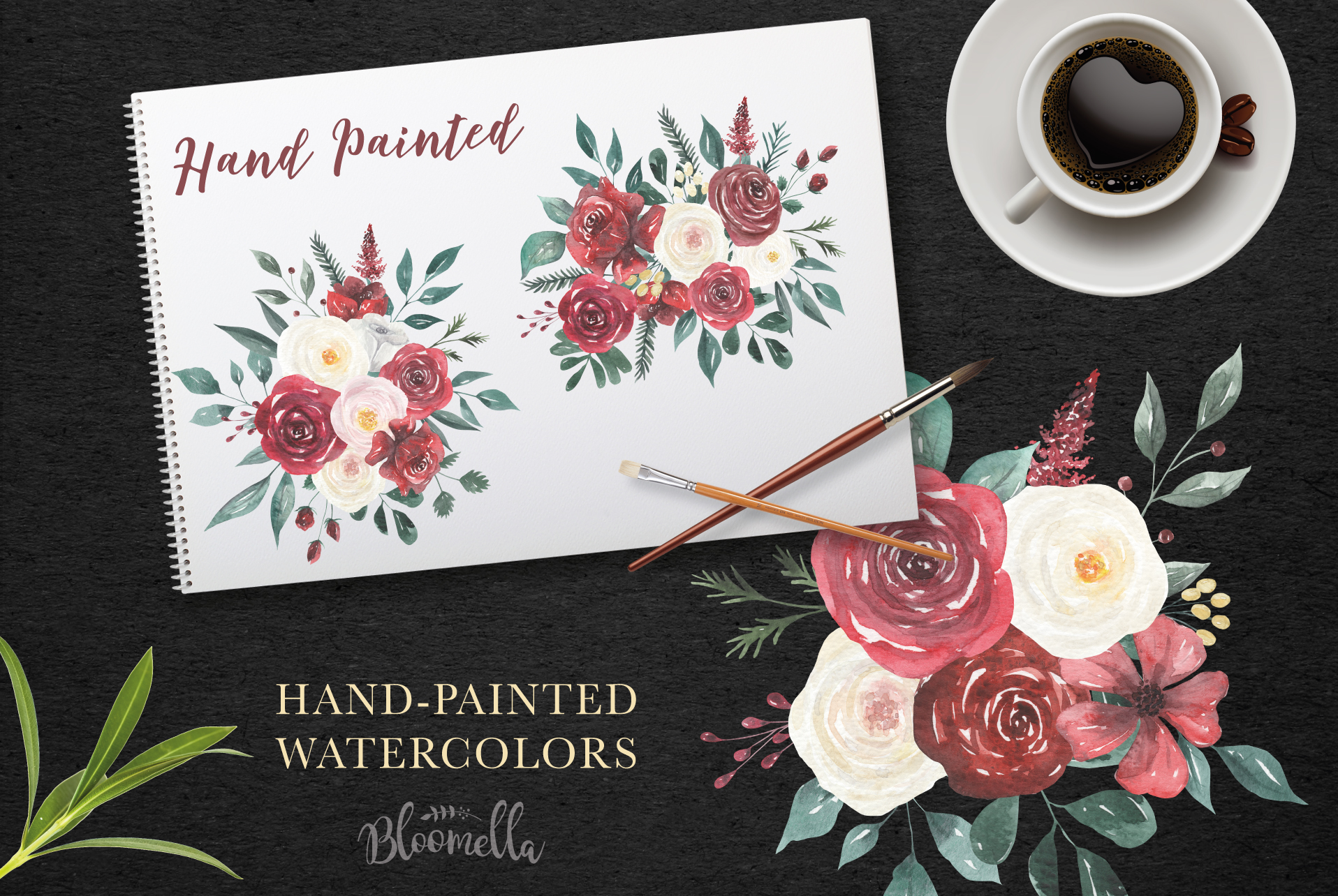 Watercolor Floral Deep Red Cream 10 Bouquets Flower Burgundy example image 6