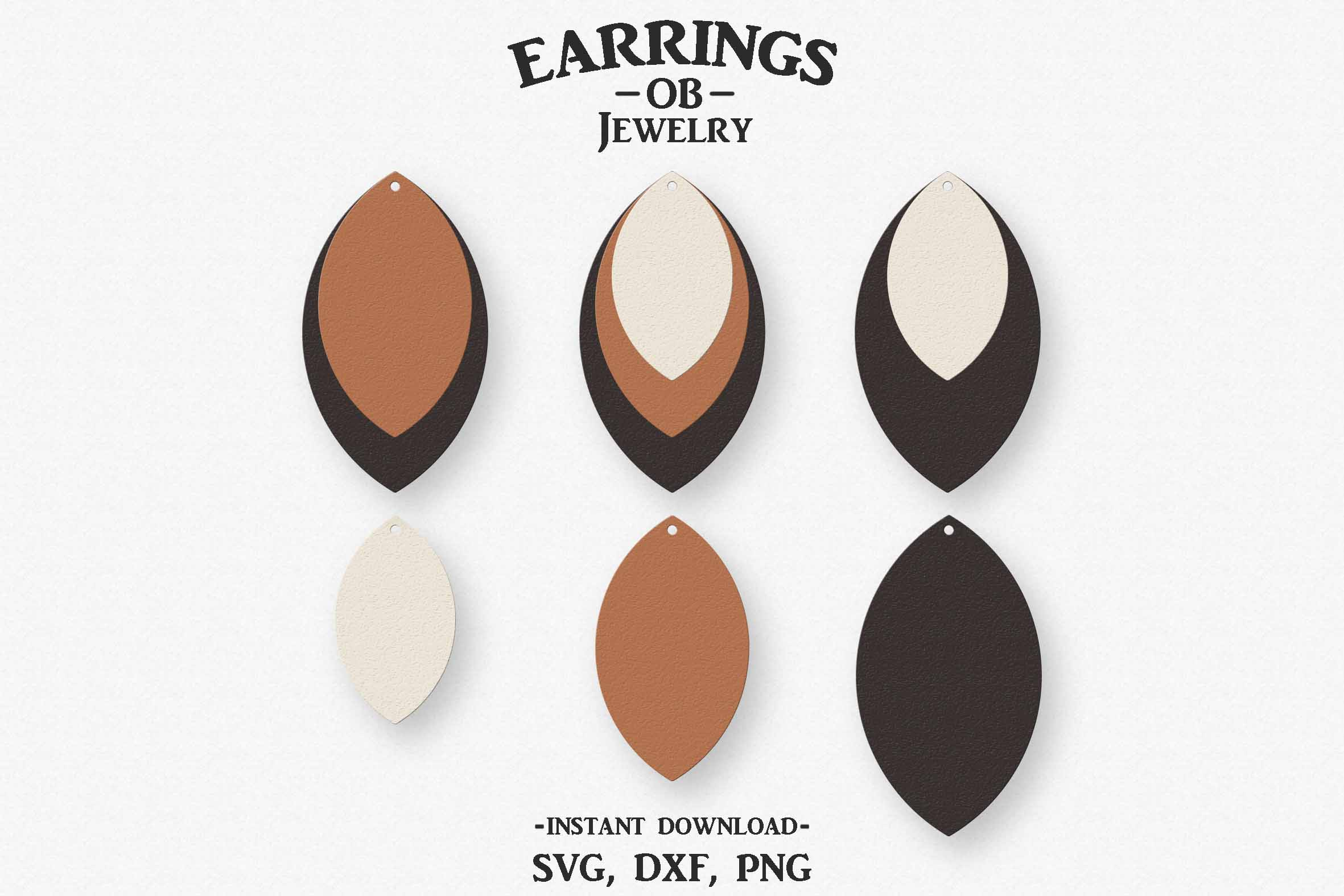 Earring Svg, Teardrop, Leaf, Stacked, Cut File example image 1