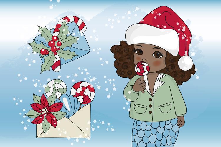 CHRISTMAS MERMAID Vector Illustration Set example image 10