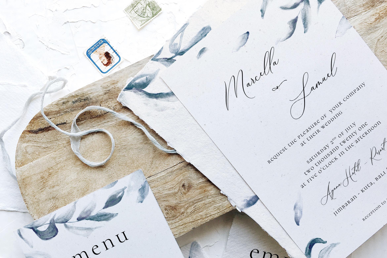 Elegant Blue Watercolor Sprig Wedding Suite example image 2