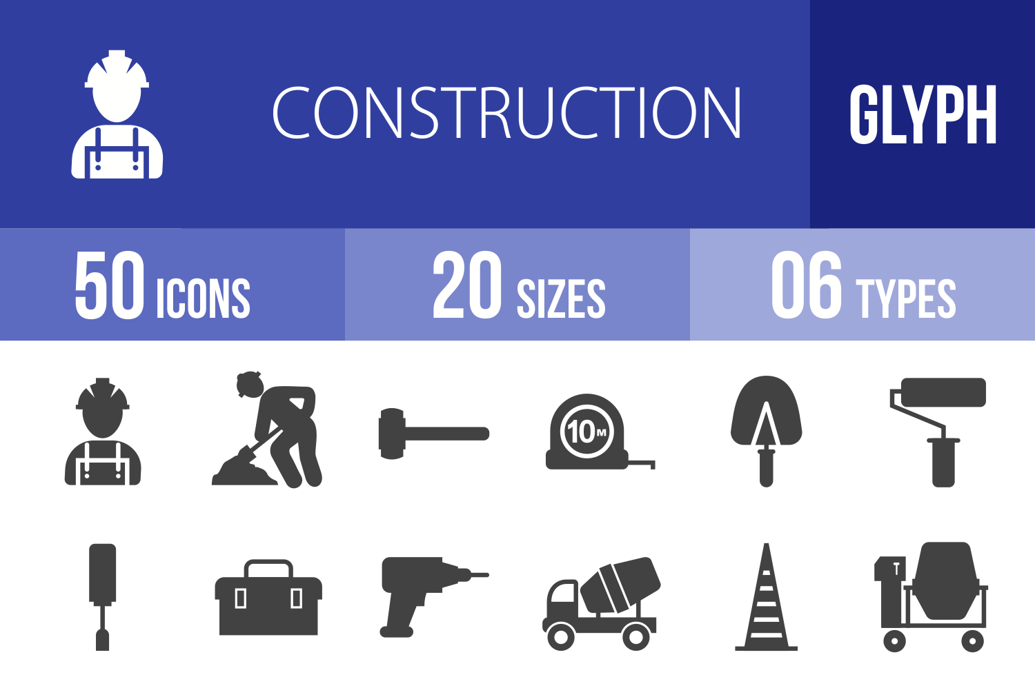 50 Construction Glyph Icons example image 1