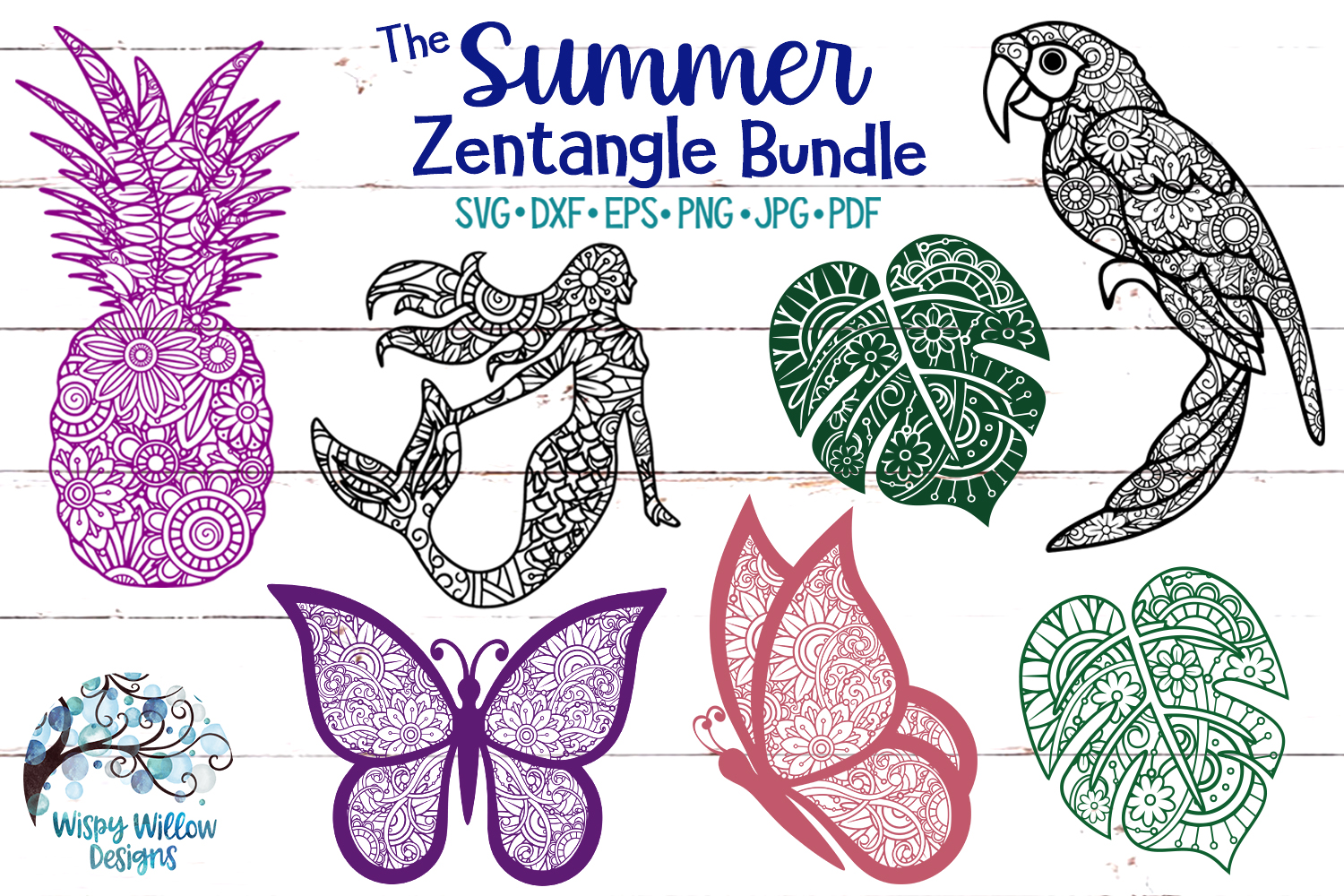 The Summer Zentangle SVG Bundle | Mermaid | Pineapple example image 1