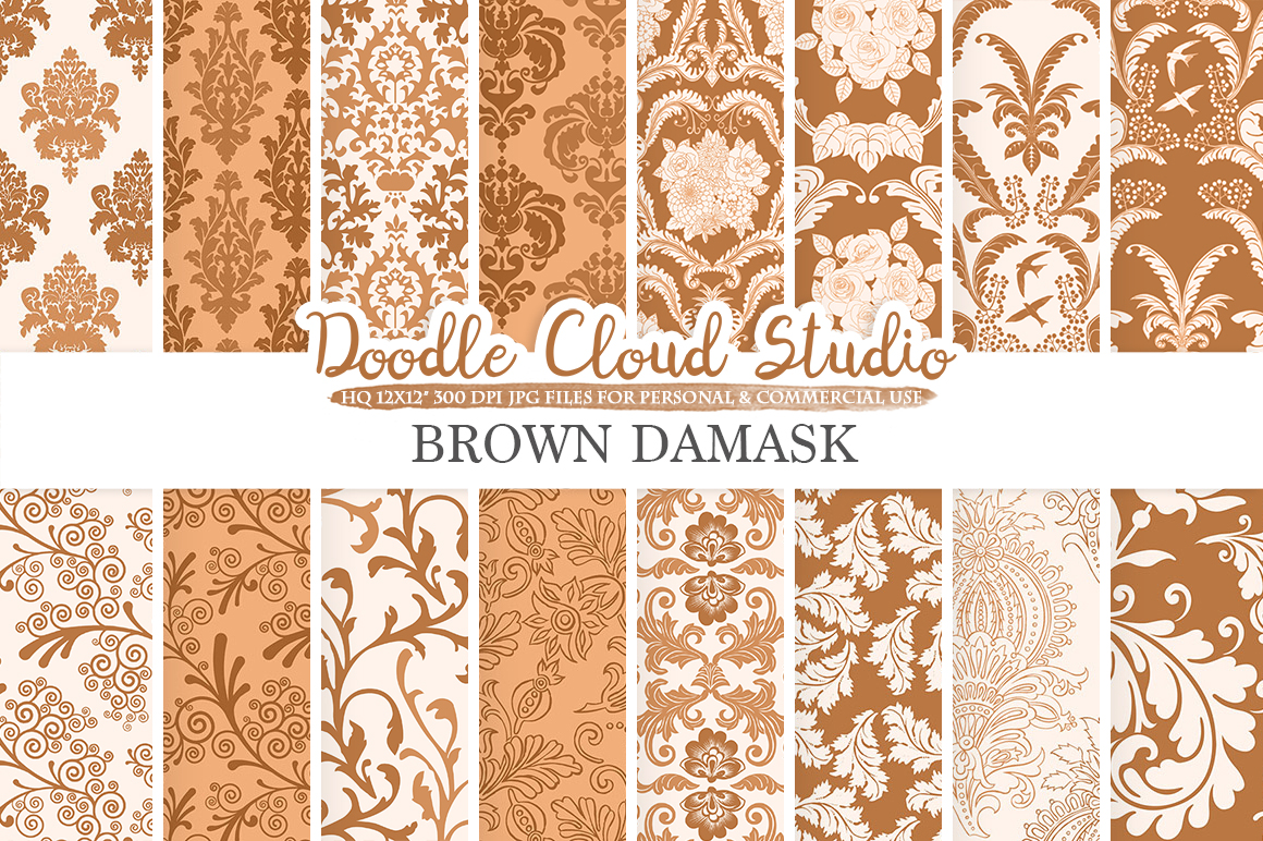 Brown Damask digital paper, Swirls patterns, Digital Floral Damask, Coffee background, Instant Download for Personal & Commercial Use example image 1