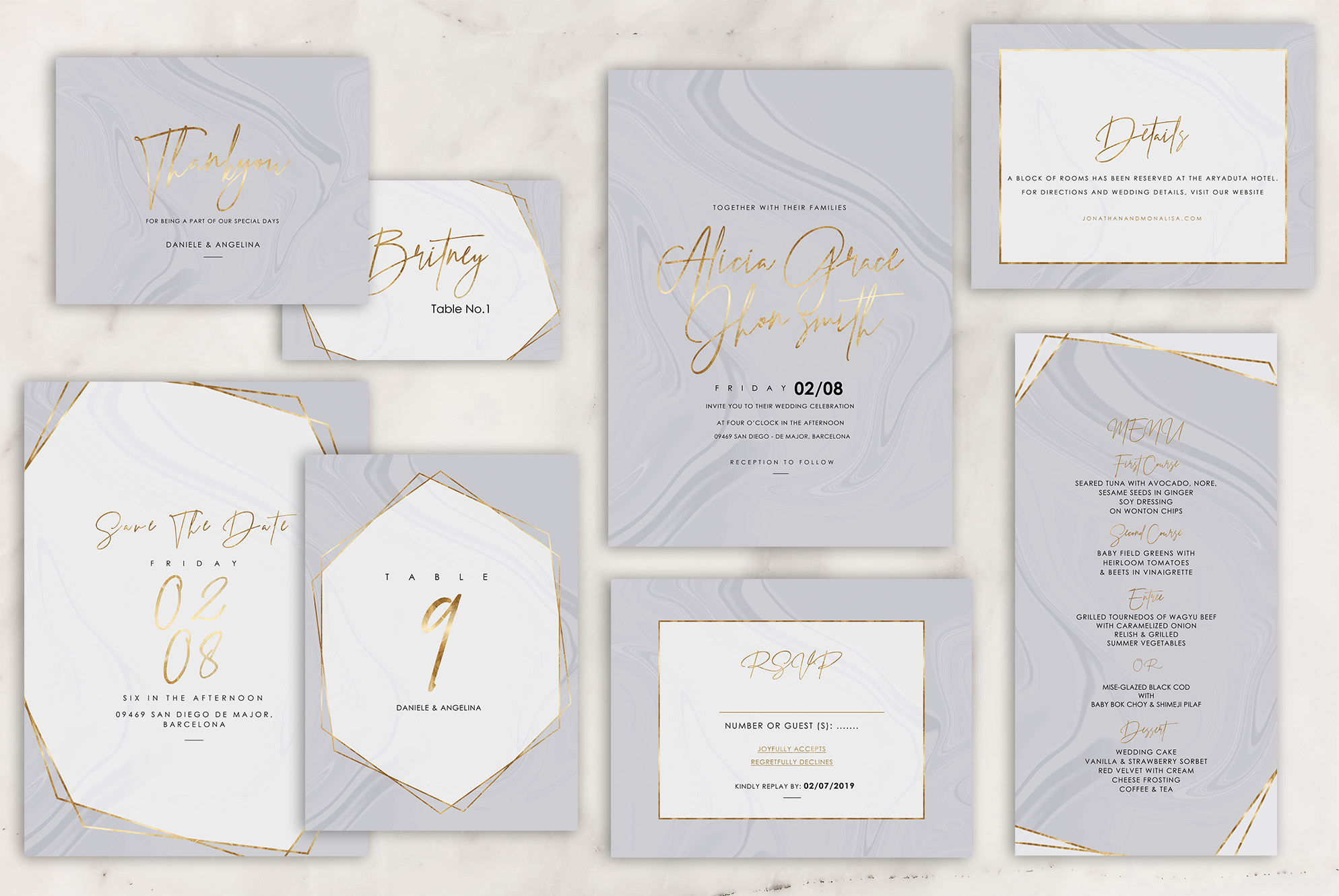 Marble Wedding Invitation - 6 Collections example image 4