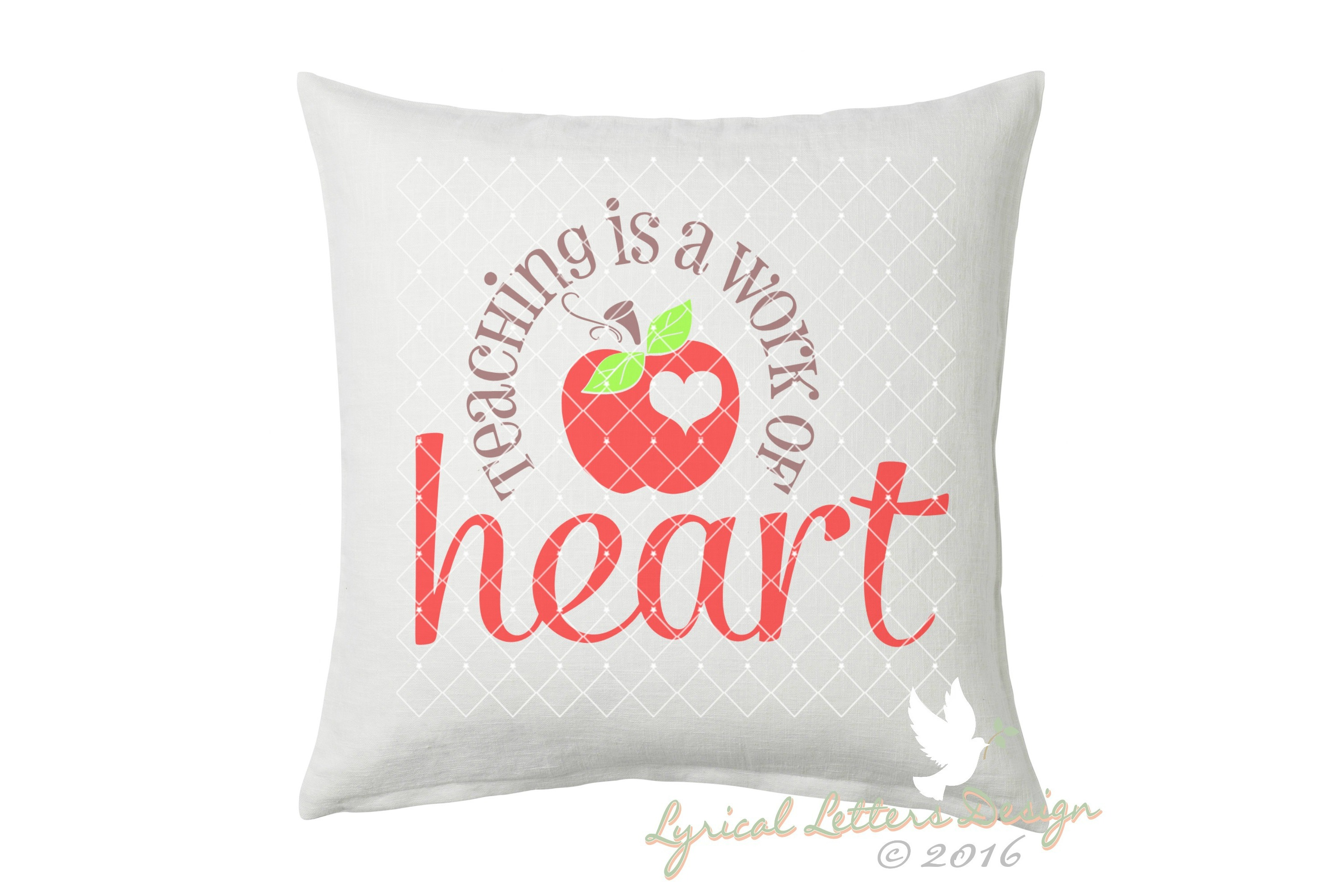Teaching Is a Work of Heart SVG Cut File LL035G example image 2