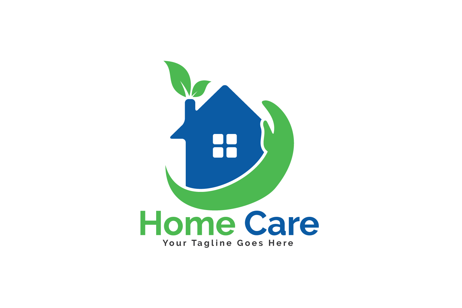 Home Care Logo Design. House With Hand Vector Design.