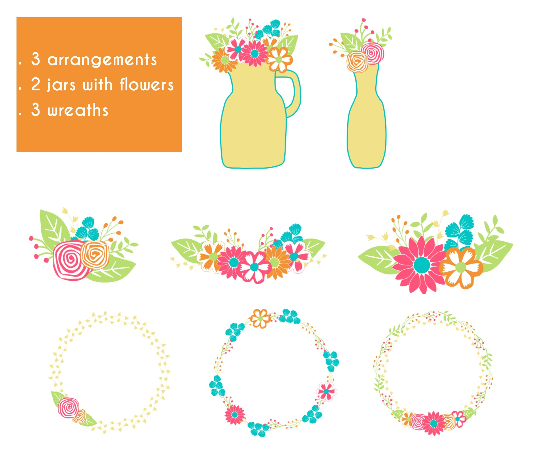 Summer colors flowers. Clip art and digital papers collection. example image 3