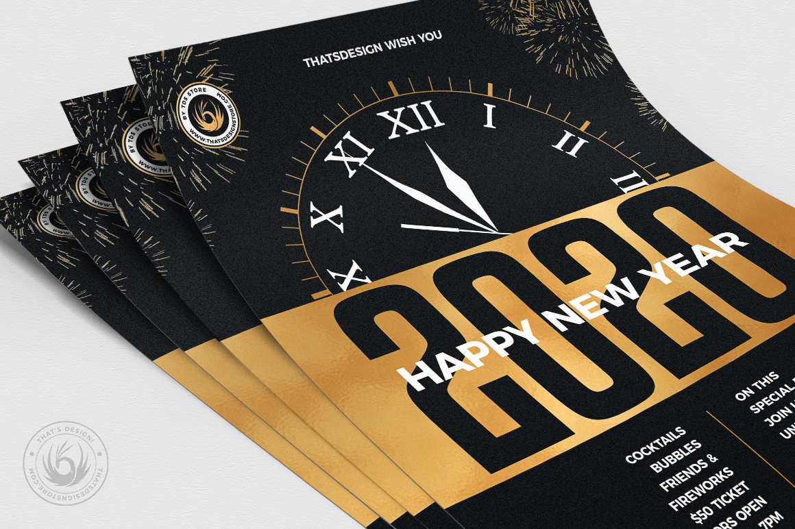 New Year Flyer Template V10 example image 5