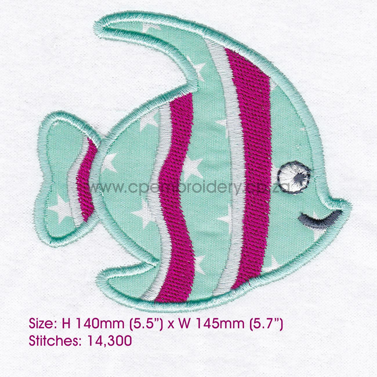Striped Moorish Idol Pet Fish Applique Design example image 8