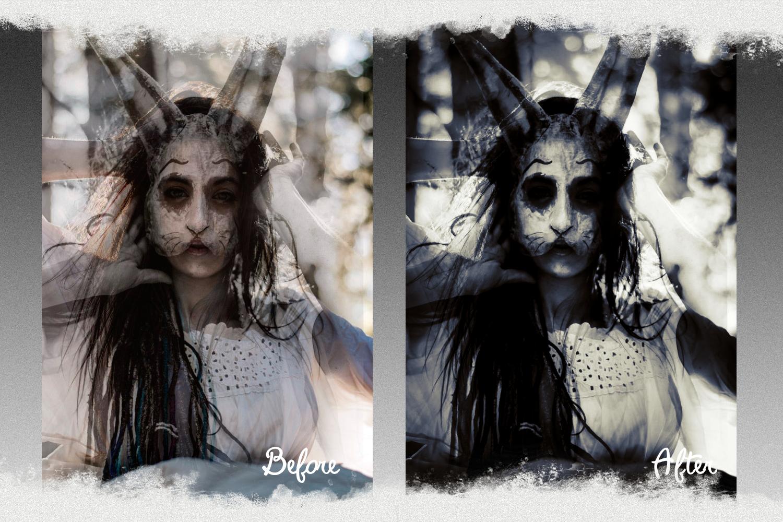 Horror presets lightroom mobile pc halloween black white example image 3