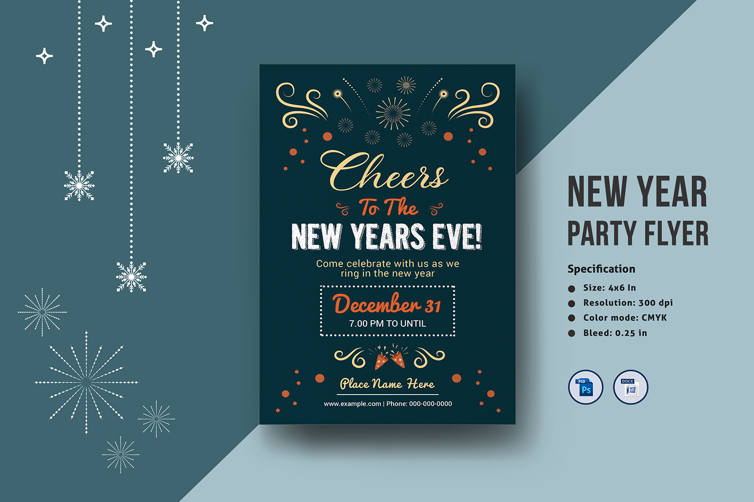 Printable New Year Party Flyer example image 1