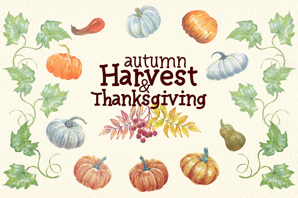 watercolor autumn, harvest and thanksgiving clipart example image 4
