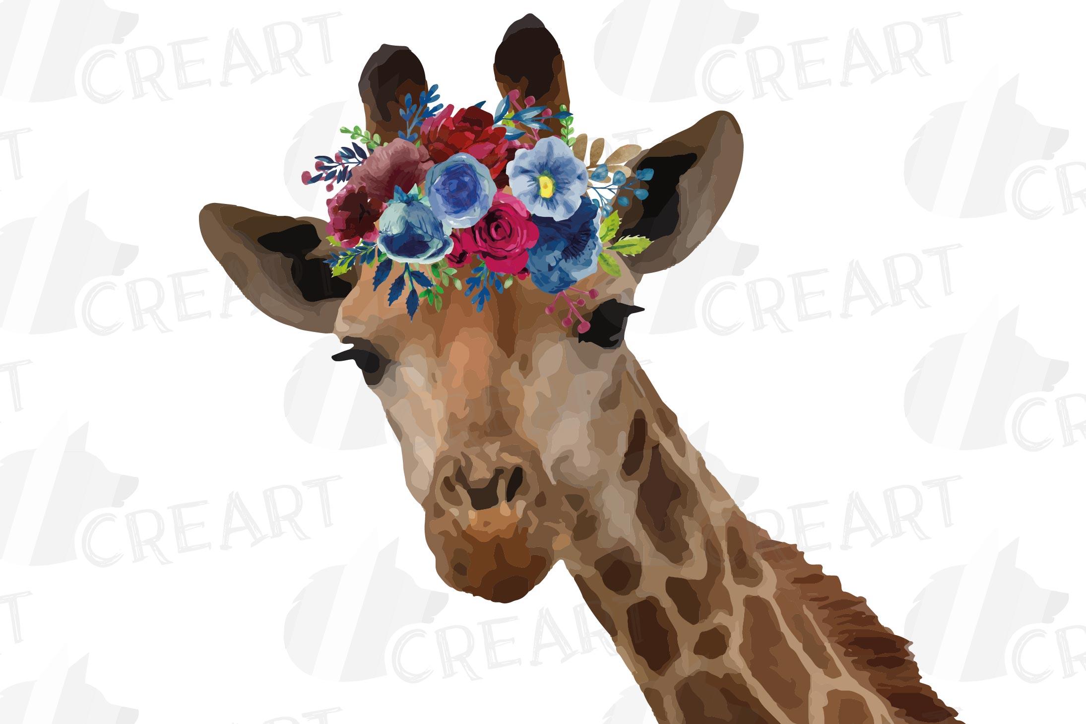 Floral crown giraffe animal wall art. Watercolour giraffe. example image 5