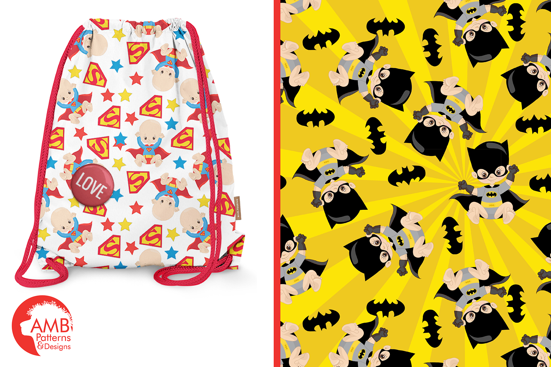 Super Baby Patterns, Superhero Papers, AMB-1338 example image 5