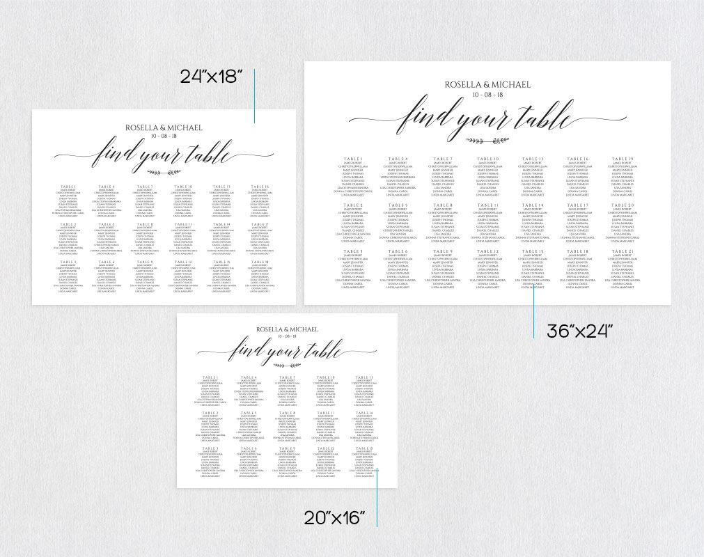 wedding seating chart sign landscape, TOS_7 example image 2