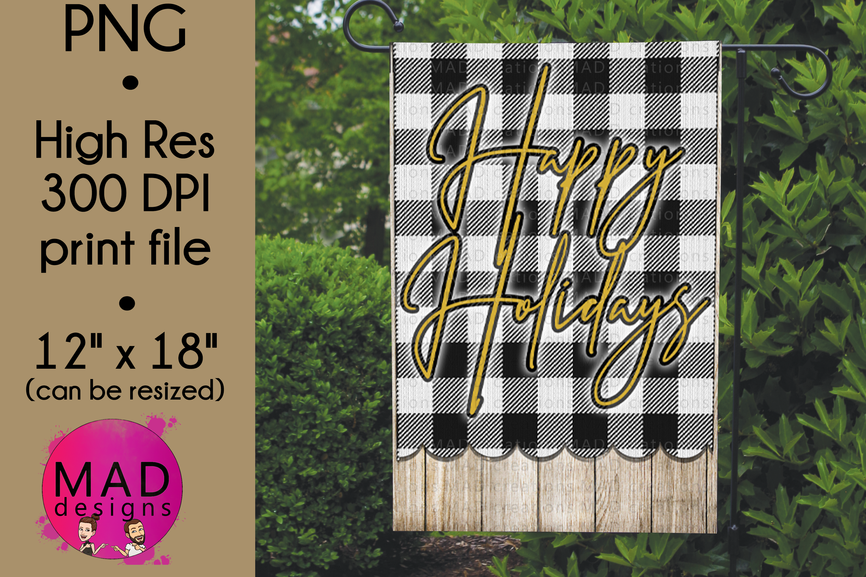 Happy Holidays - Buffalo Plaid - Garden Flag PNG example image 1