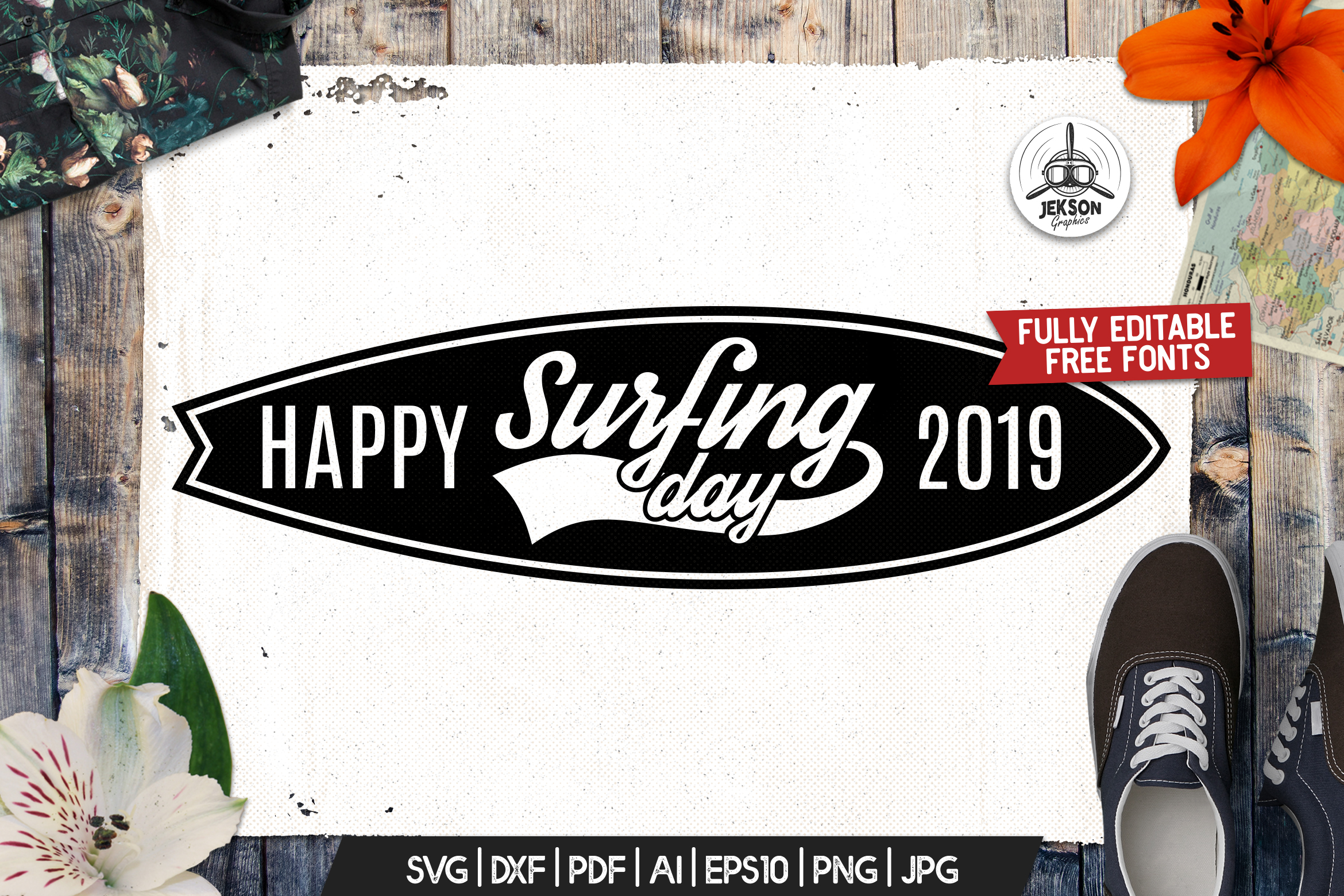 Surf Adventure Badge, Vintage Summer Logo Board SVG File example image 1