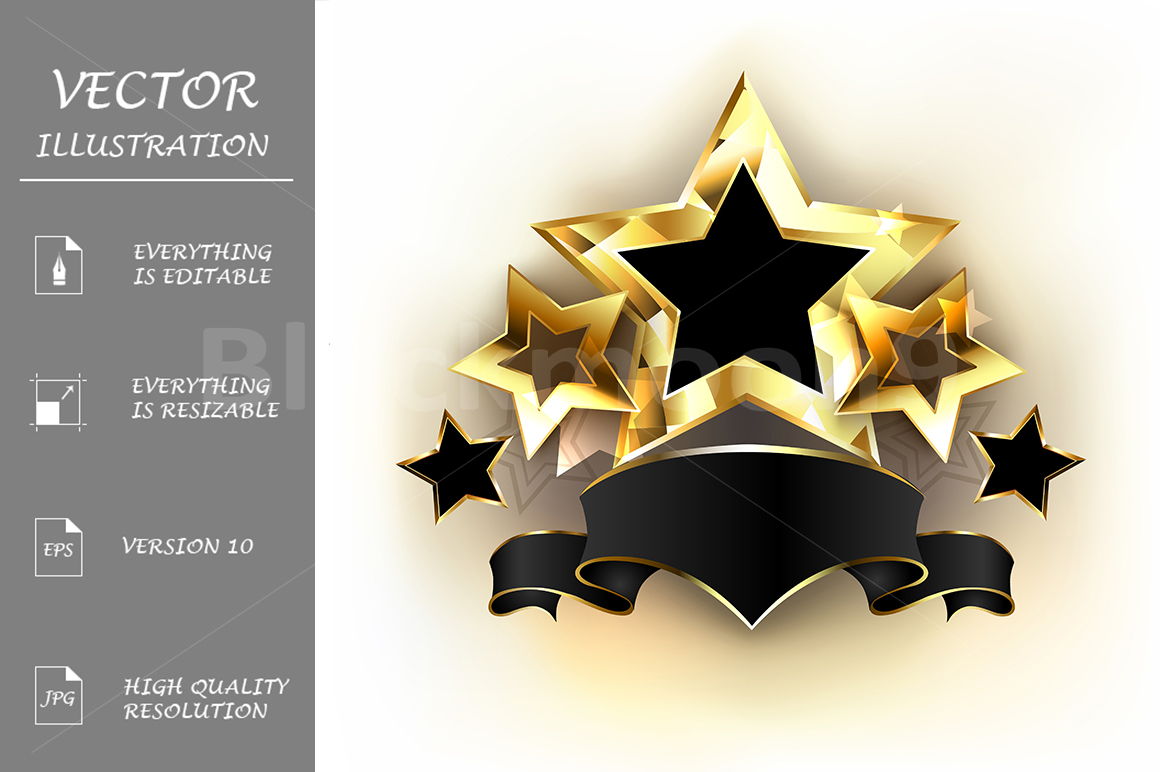 Five Stars with Black Ribbon example image 1