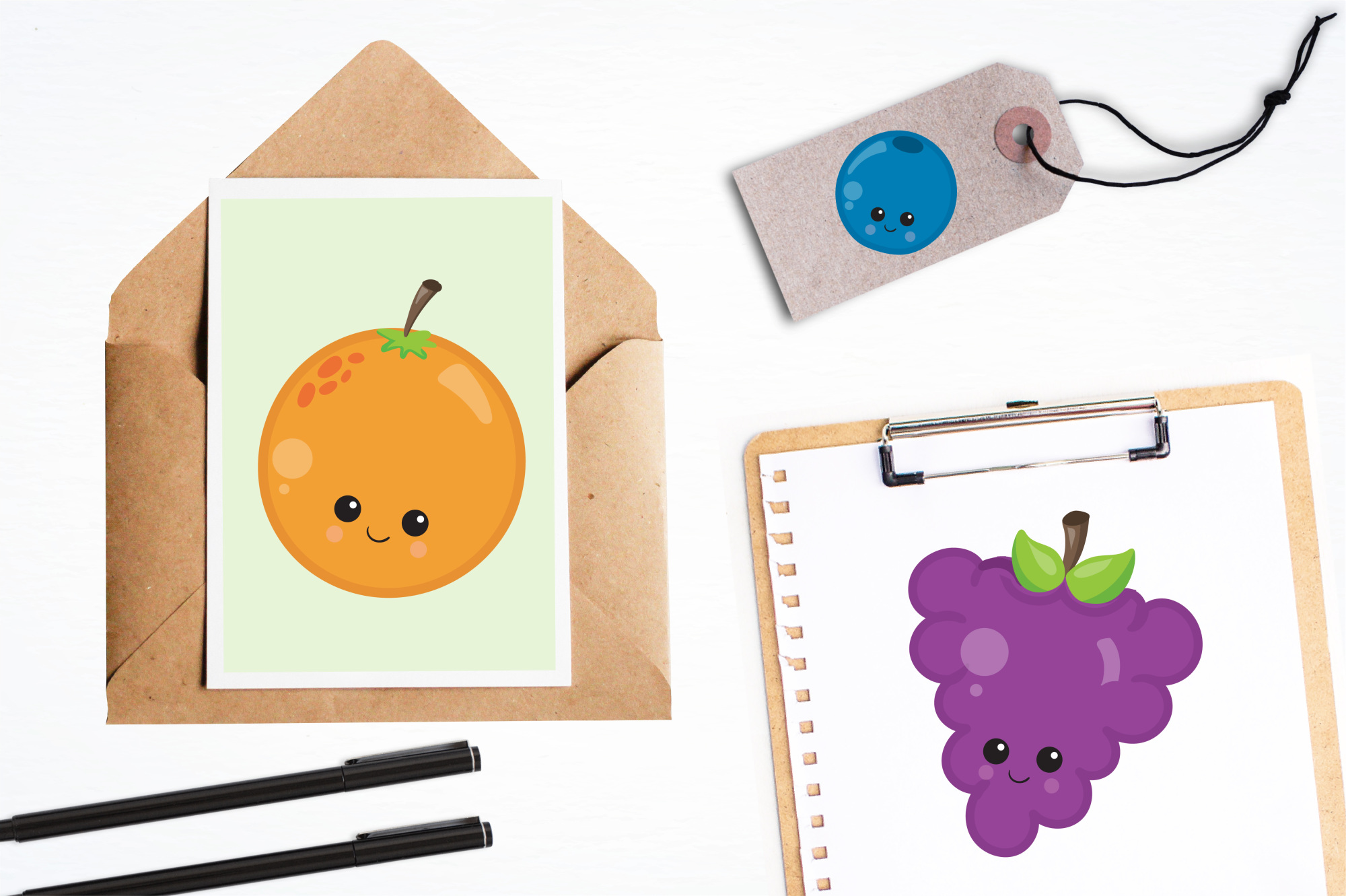 Kawaii Fruits  graphics and illustrations example image 4