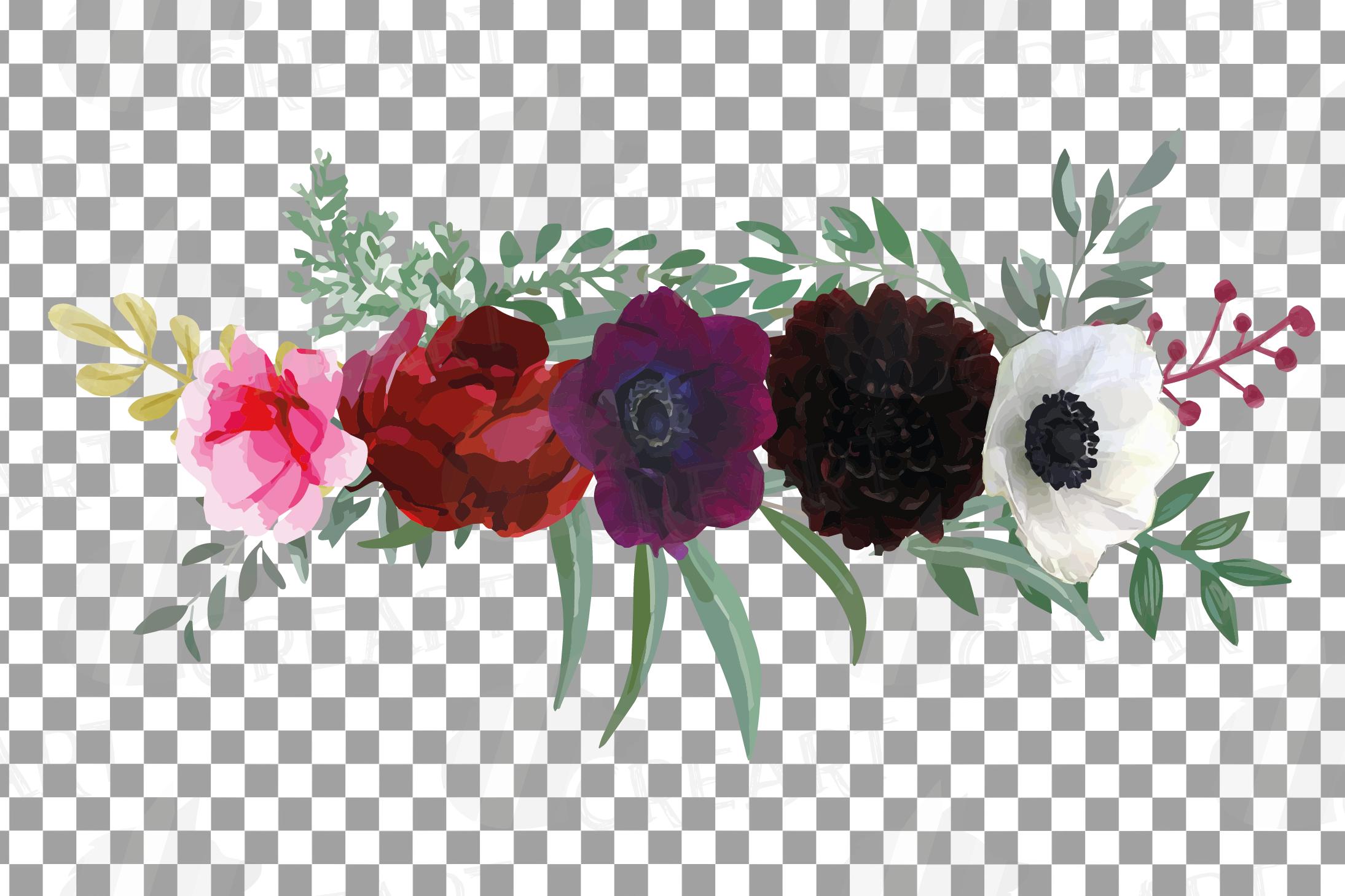 Watercolor elegant floral bouquets, rose, anemone decoration example image 11