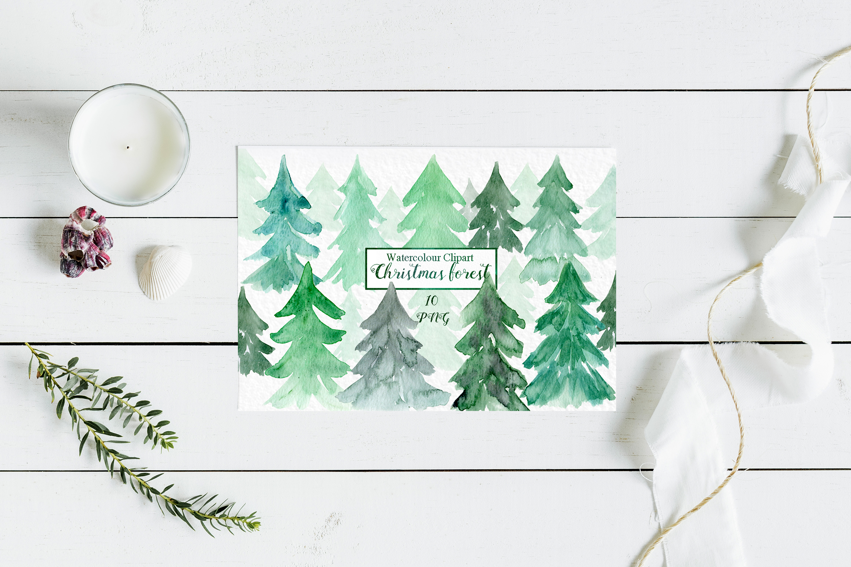 Watercolour christmas forest clipart , forest clipart example image 2
