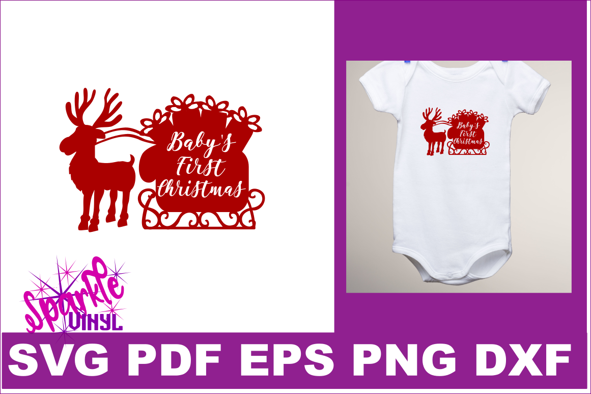 First Christmas SVG DXF EPS PDF PNG Baby's First Christmas SVG Cut File Cricut Silhouette example image 1