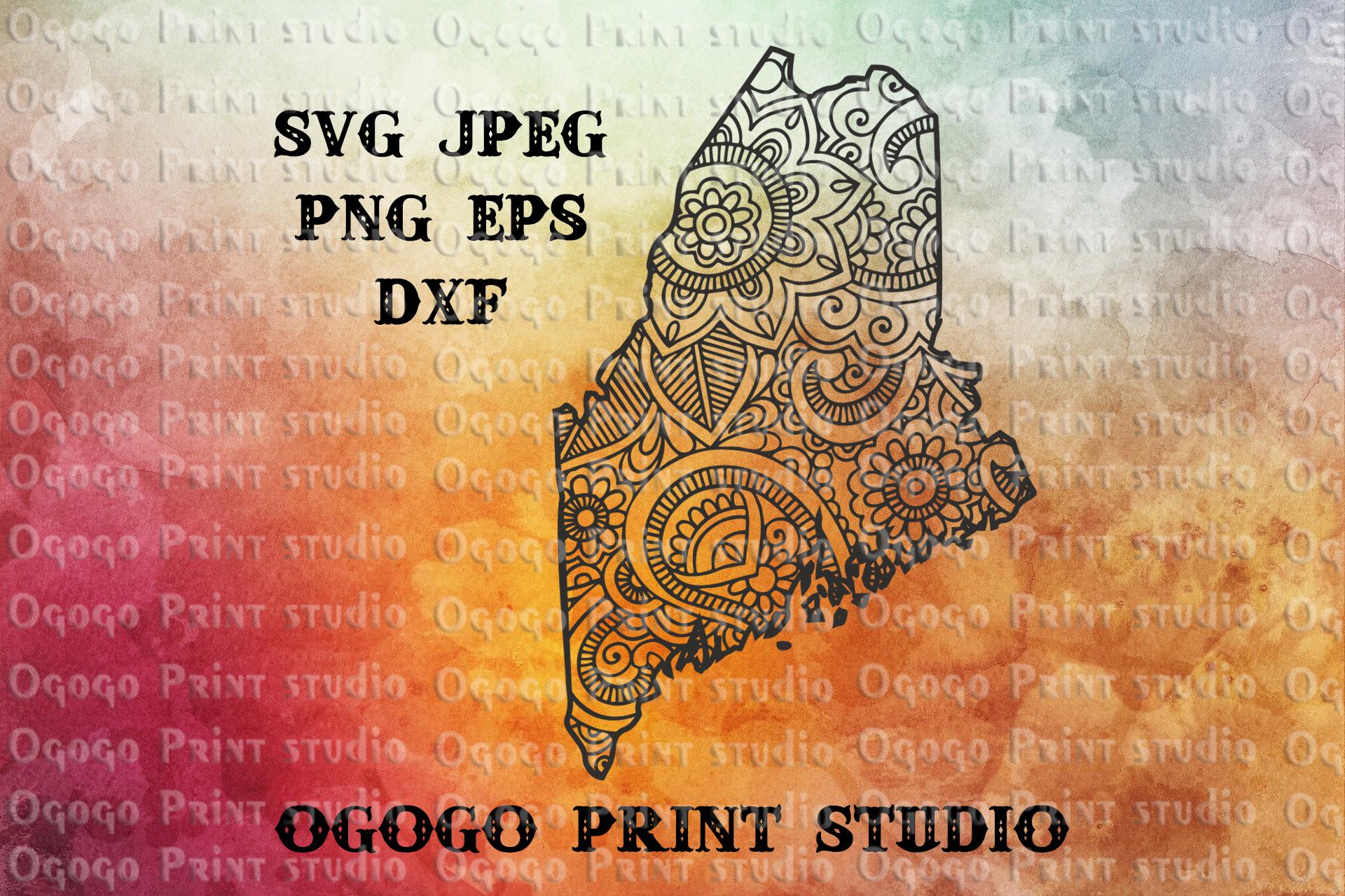 Maine SVG, Map Zentangle SVG, Mandala svg, Travel svg example image 1