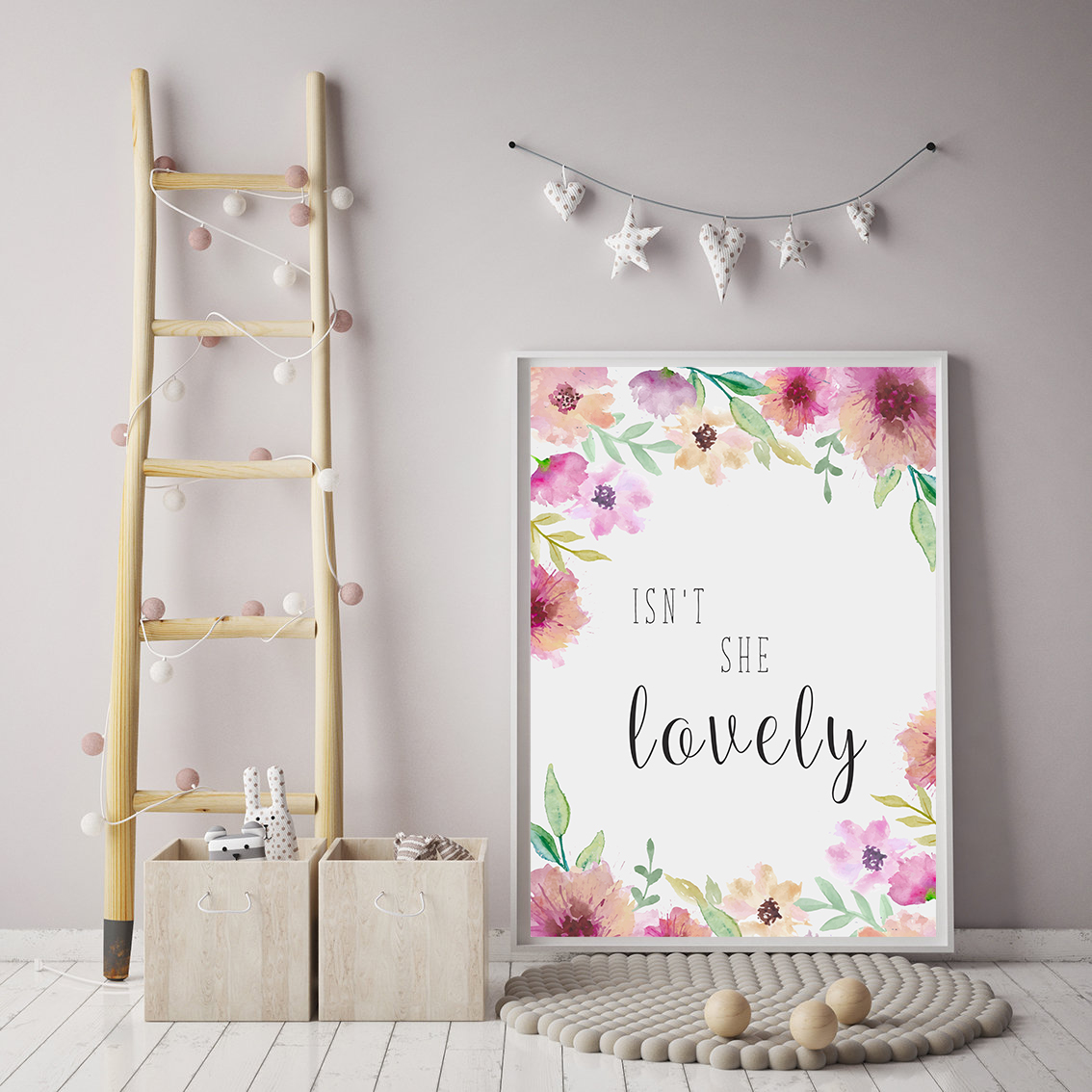 Wall Art Print for Girl Room, Nursery Prints Quote example image 2